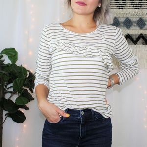 Lucky Brand Green Stripe Ruffle Raw Trim Top #008